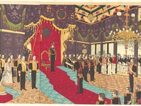 Adachi_Ginkō_(1889)_View_of_the_Issuance_of_the_State_Constitution_in_the_State_Chamber_of_the_New_Imperial_Palace
