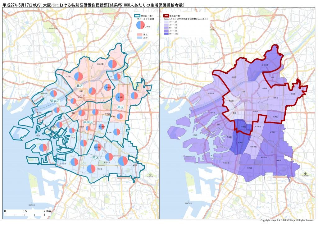 J.A.G JAPAN Corp.「平成27年5月17日執行_大阪市における特別区設置住民投票[結果VS1000人あたりの生活保護受給者数]」
